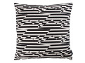 Stripey Zig Zag Bird Cushion Monochrome