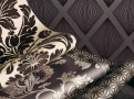 Grandis Flock Wallcoverings Charcoal 2