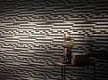 Stripey Zig Zag Birds Wallcovering Noir 1
