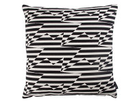 Stripey Zig Zag Bird Cushion Monochrome Image 2