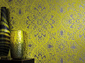Byzantine Flock Wallcovering Ebony 2